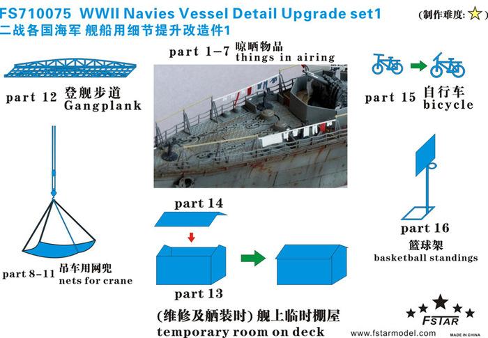 FS710075 1/700 二战各国海军舰艇细节升级套件 I